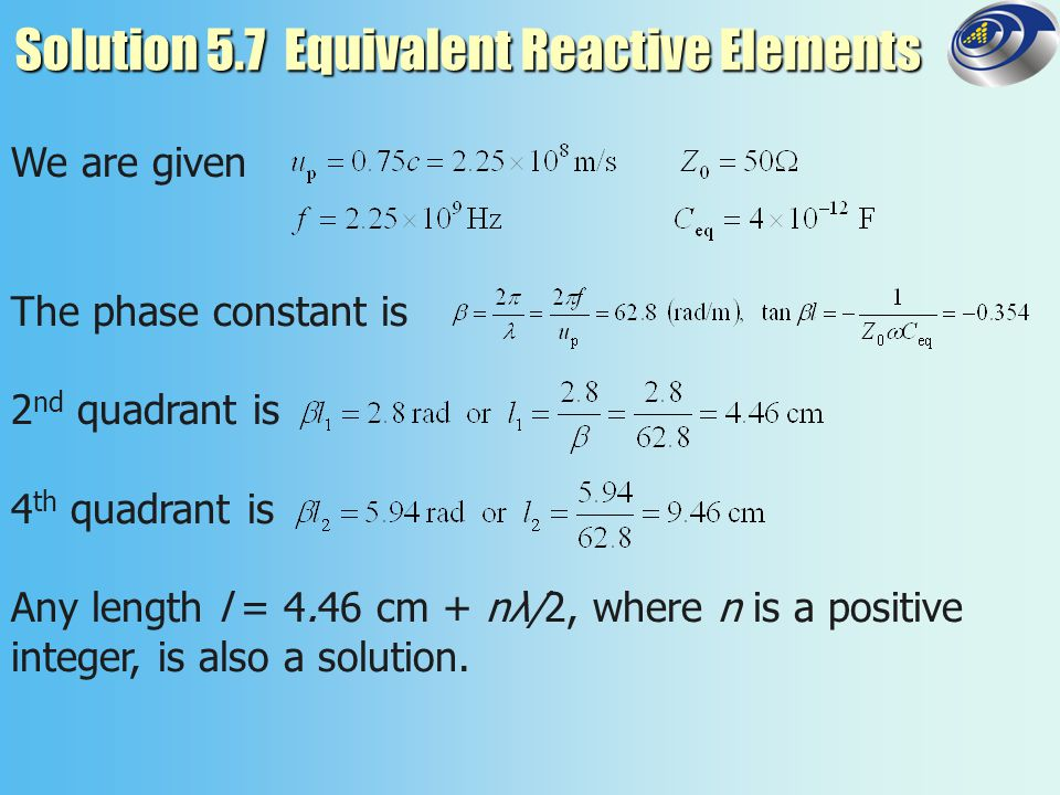 Solution 5.7 Equivalent Reactive Elements