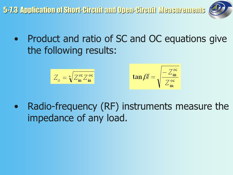 5-7.3 Application of Short-Circuit and Open-Circuit Measurements