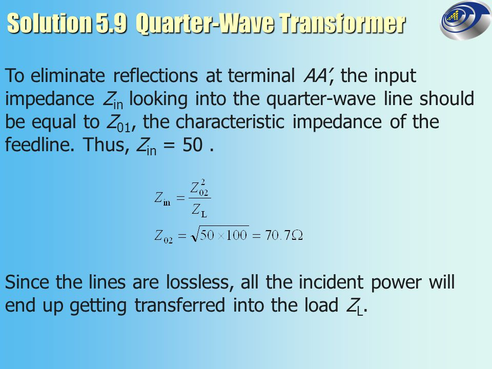 Solution 5.9 Quarter-Wave Transformer