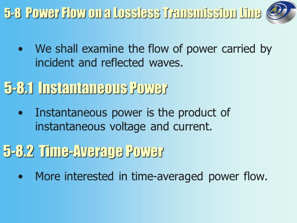 5-8 Power Flow on a Lossless Transmission Line