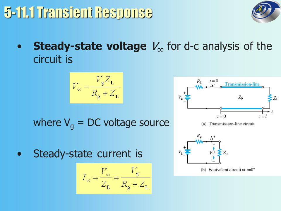 5-11.1 Transient Response Steady-state voltage V∞ for d-c analysis of the circuit is. where Vg = DC voltage source.