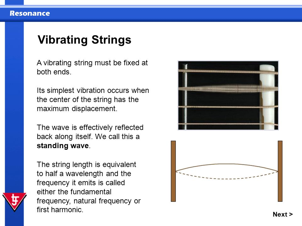 Vibrating Strings A vibrating string must be fixed at both ends.