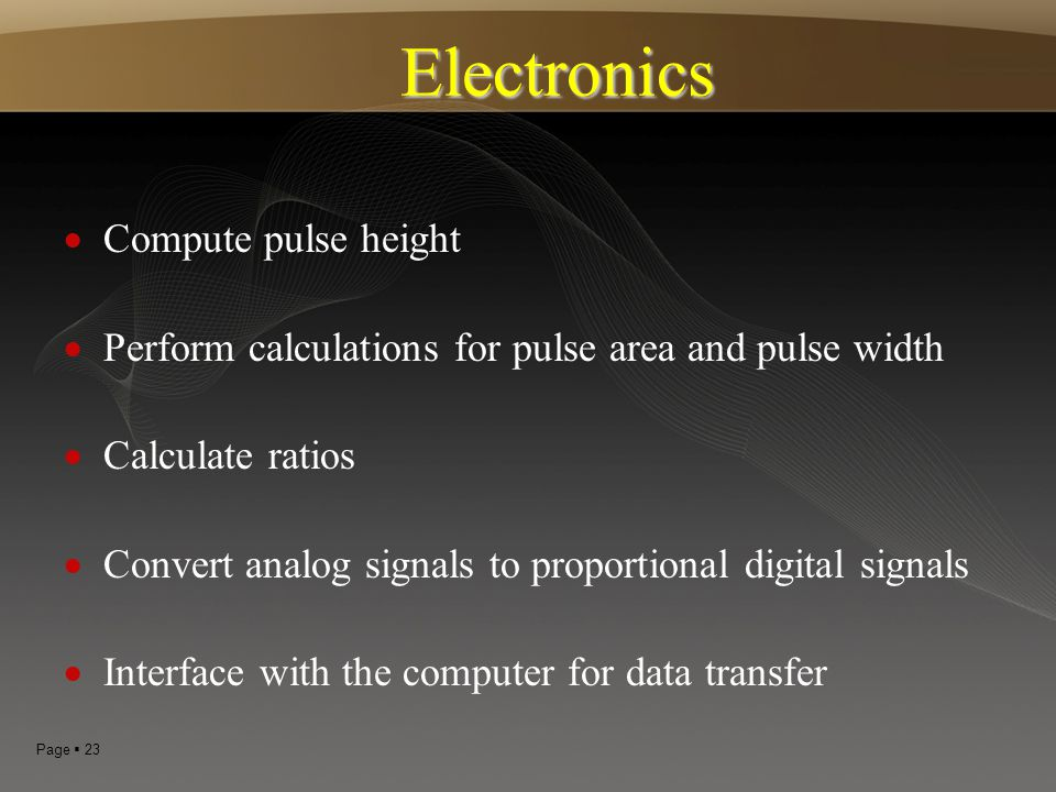 Electronics Compute pulse height