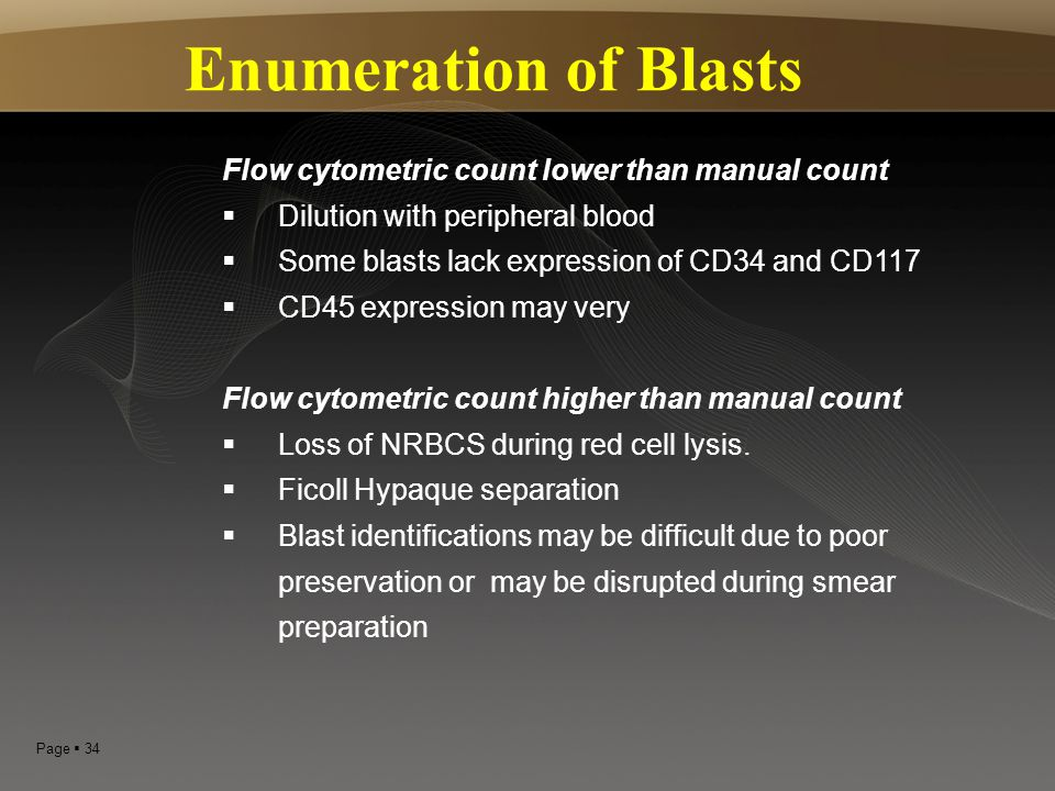 Enumeration of Blasts Flow cytometric count lower than manual count