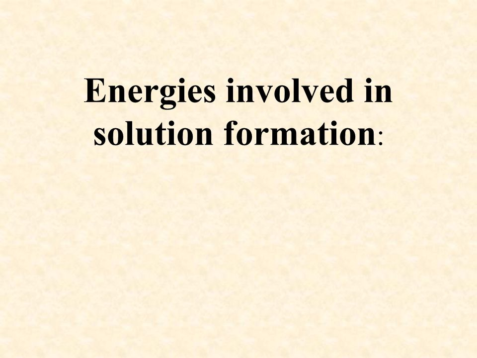 Energies involved in solution formation: