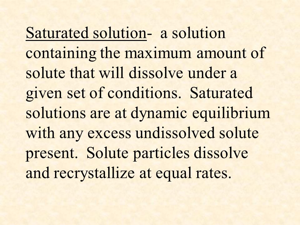 Saturated solution- a solution containing the maximum amount of solute that will dissolve under a given set of conditions.