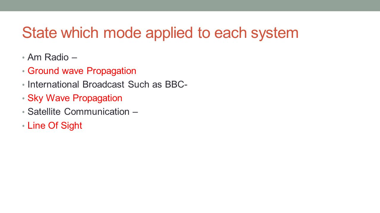 State which mode applied to each system