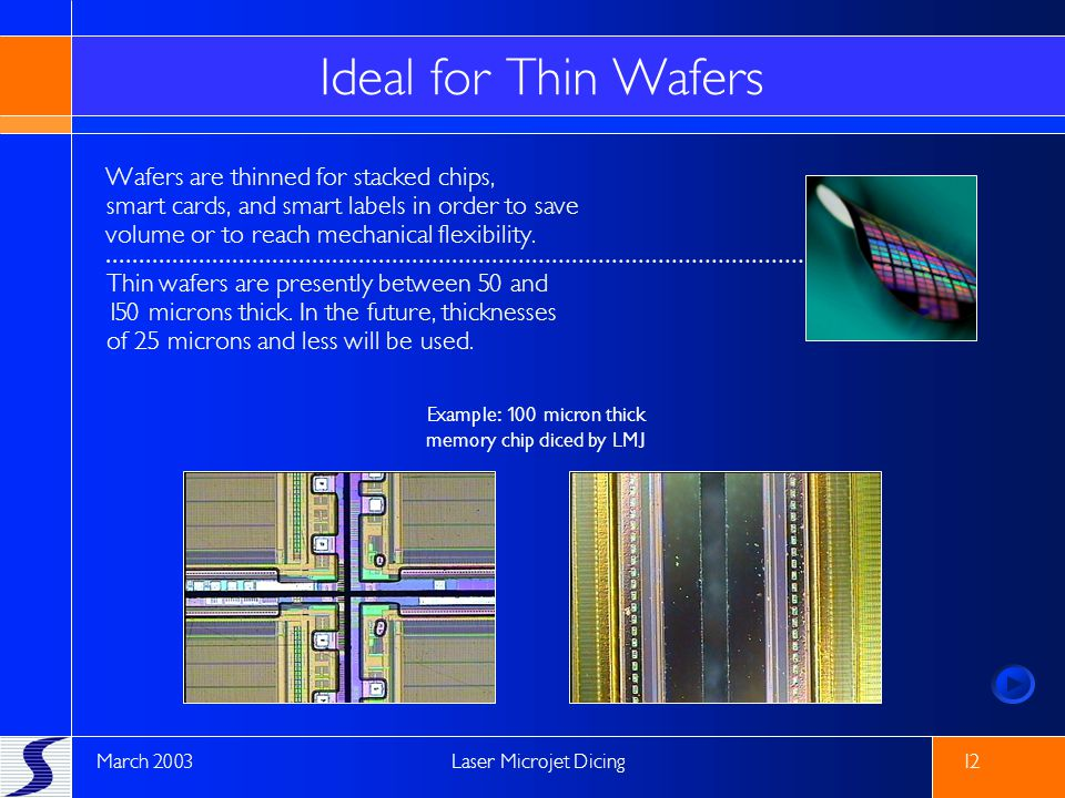 Example: 100 micron thick memory chip diced by LMJ