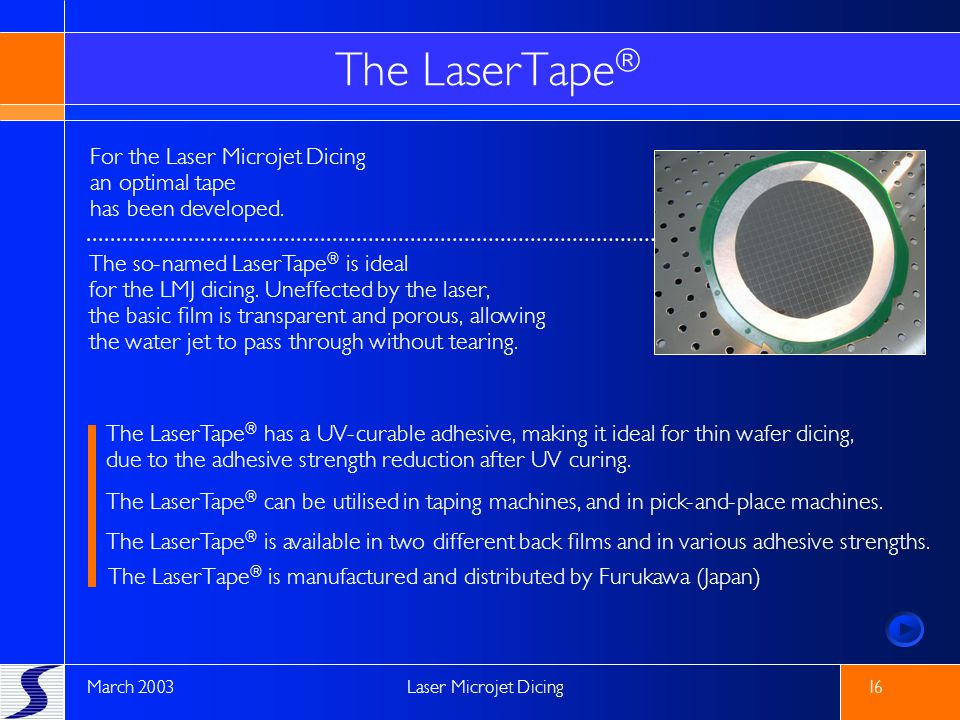 The LaserTape® For the Laser Microjet Dicing an optimal tape