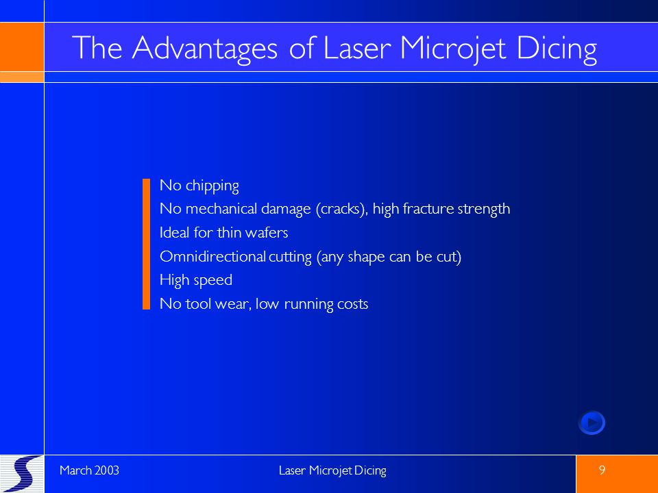 The Advantages of Laser Microjet Dicing