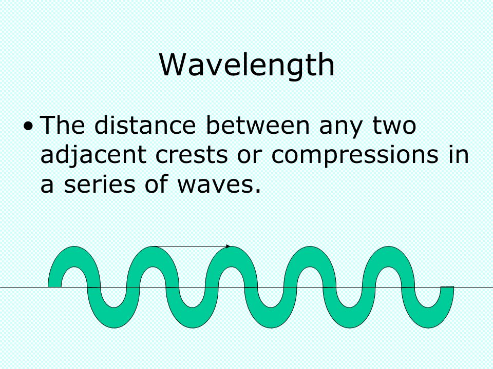 Wavelength The distance between any two adjacent crests or compressions in a series of waves.