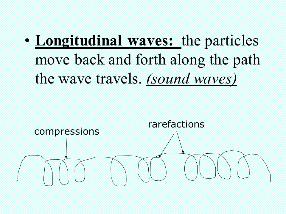 Longitudinal waves: the particles move back and forth along the path the wave travels. (sound waves)