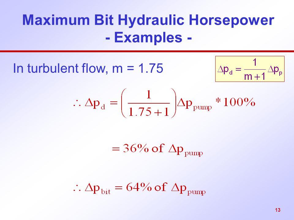Maximum Bit Hydraulic Horsepower - Examples -
