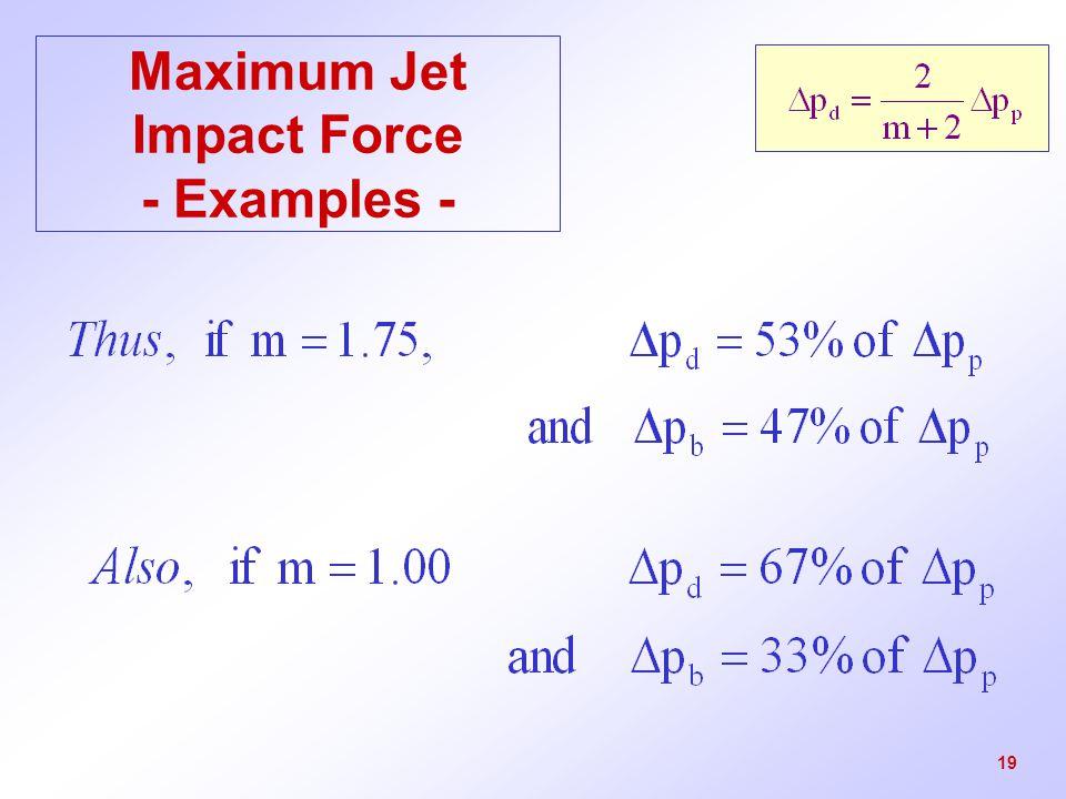Maximum Jet Impact Force - Examples -