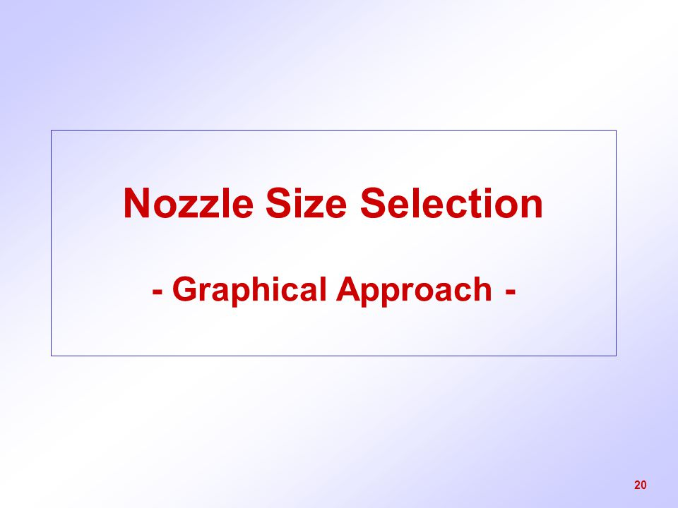 Nozzle Size Selection - Graphical Approach -