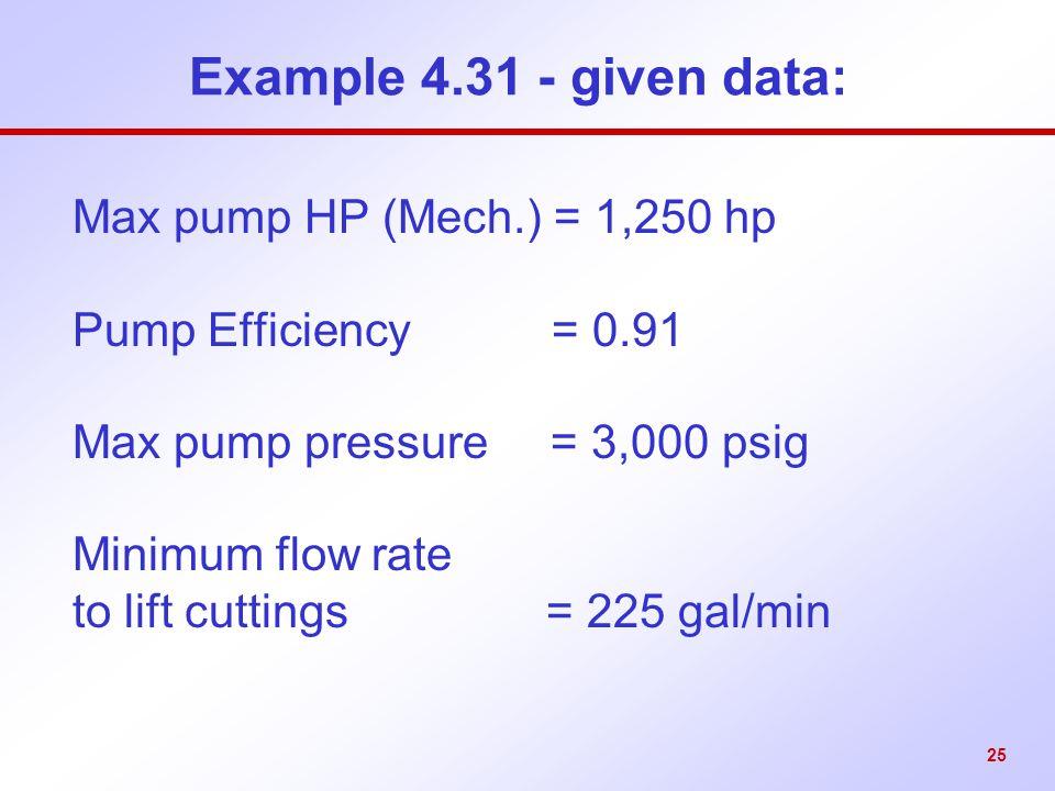Example 4.31 - given data: Max pump HP (Mech.) = 1,250 hp