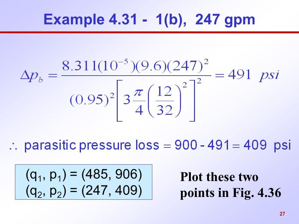 Example 4.31 - 1(b), 247 gpm (q1, p1) = (485, 906)