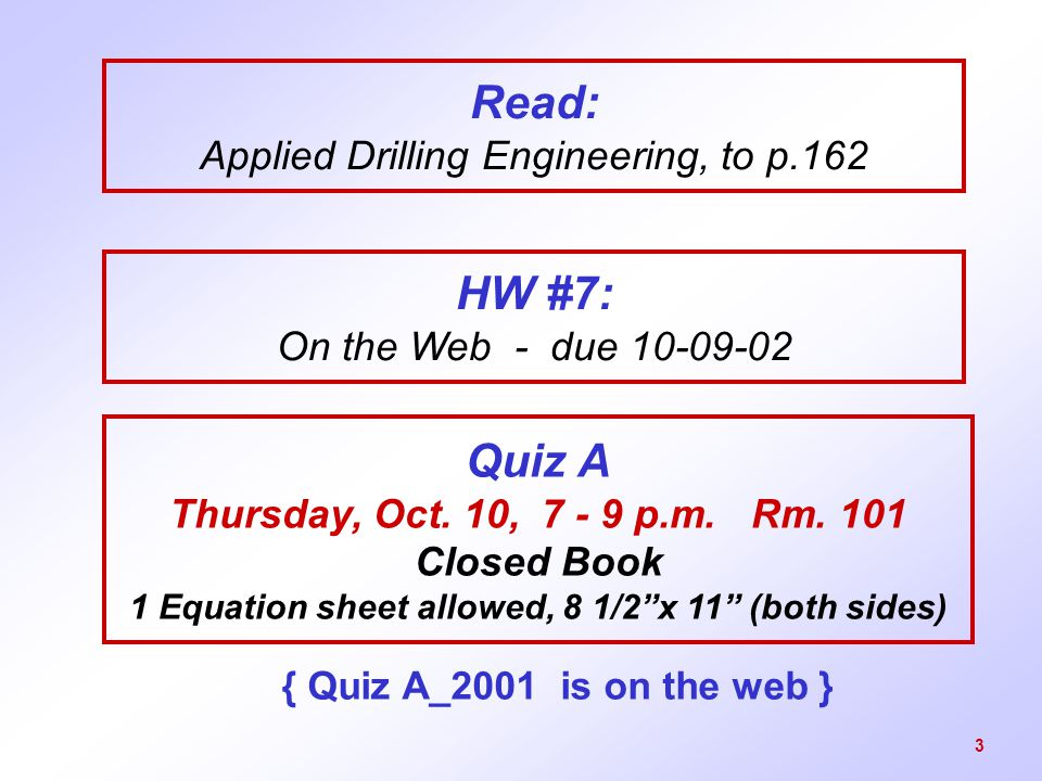 Read: Applied Drilling Engineering, to p.162