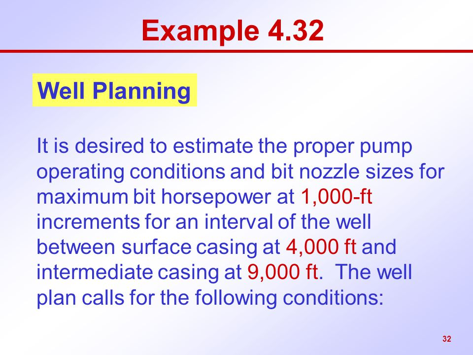 Example 4.32 Well Planning.