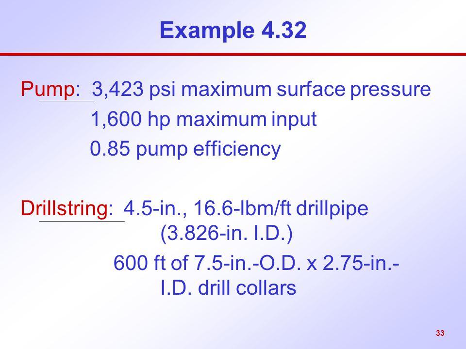 Example 4.32 Pump: 3,423 psi maximum surface pressure