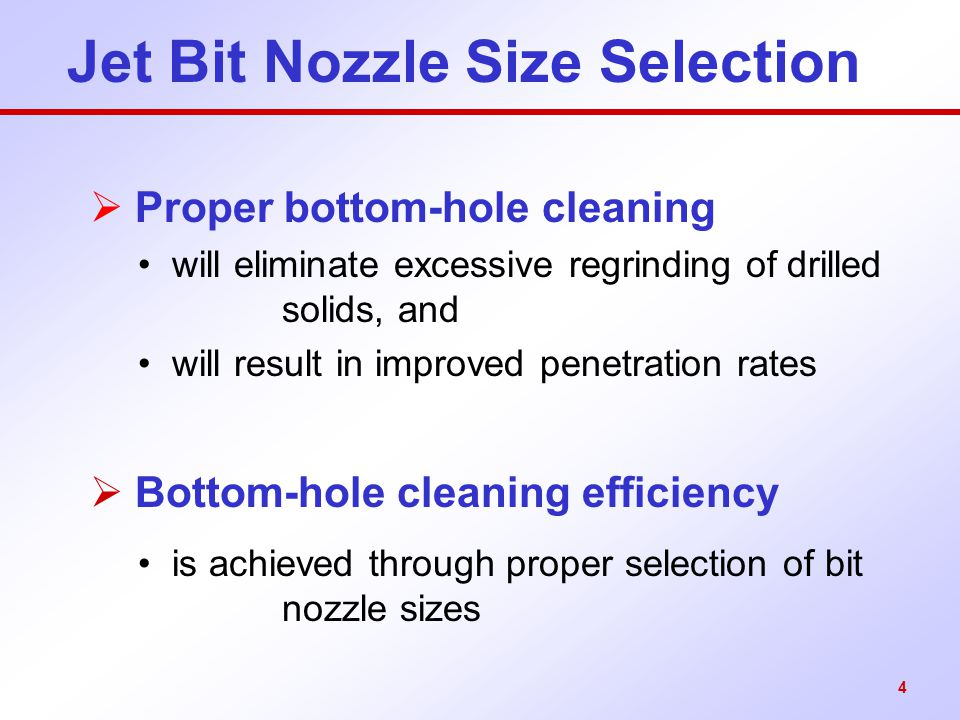 Jet Bit Nozzle Size Selection