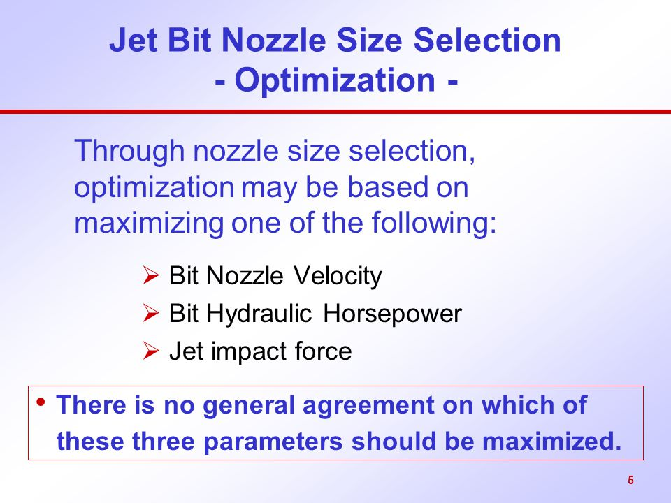 Jet Bit Nozzle Size Selection - Optimization -