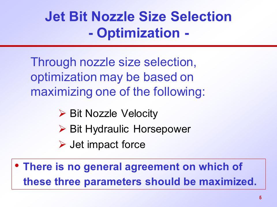 Jet Bit Nozzle Size Selection - Optimization -