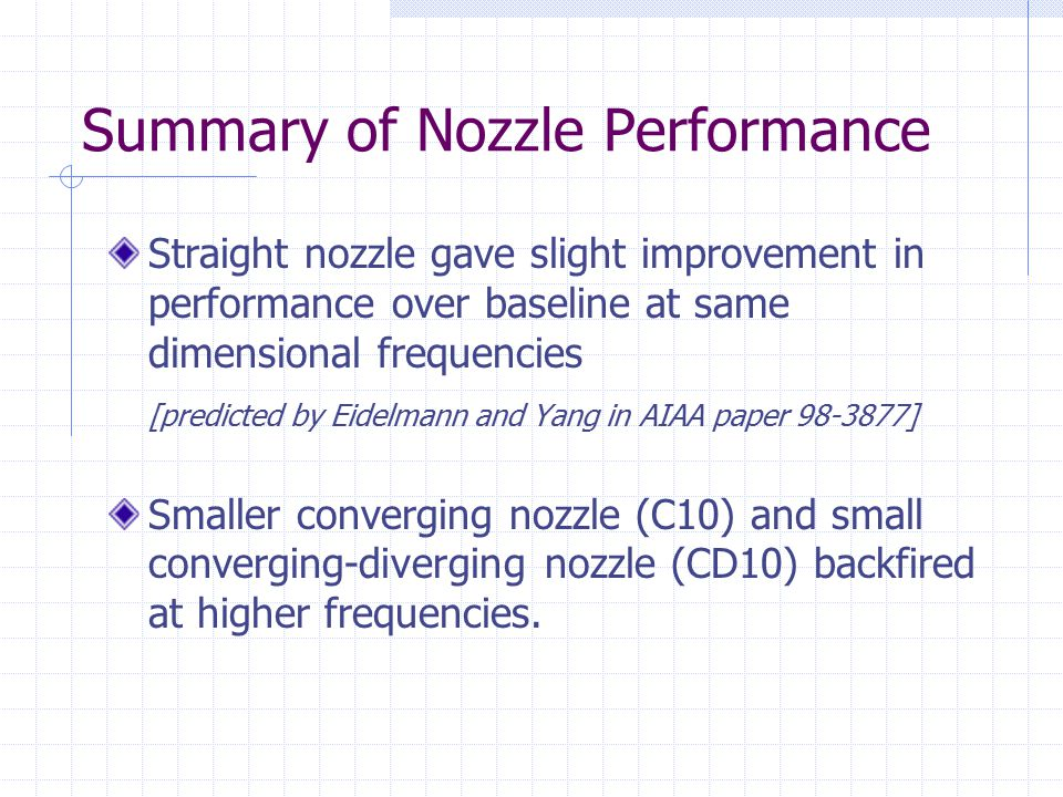 Summary of Nozzle Performance