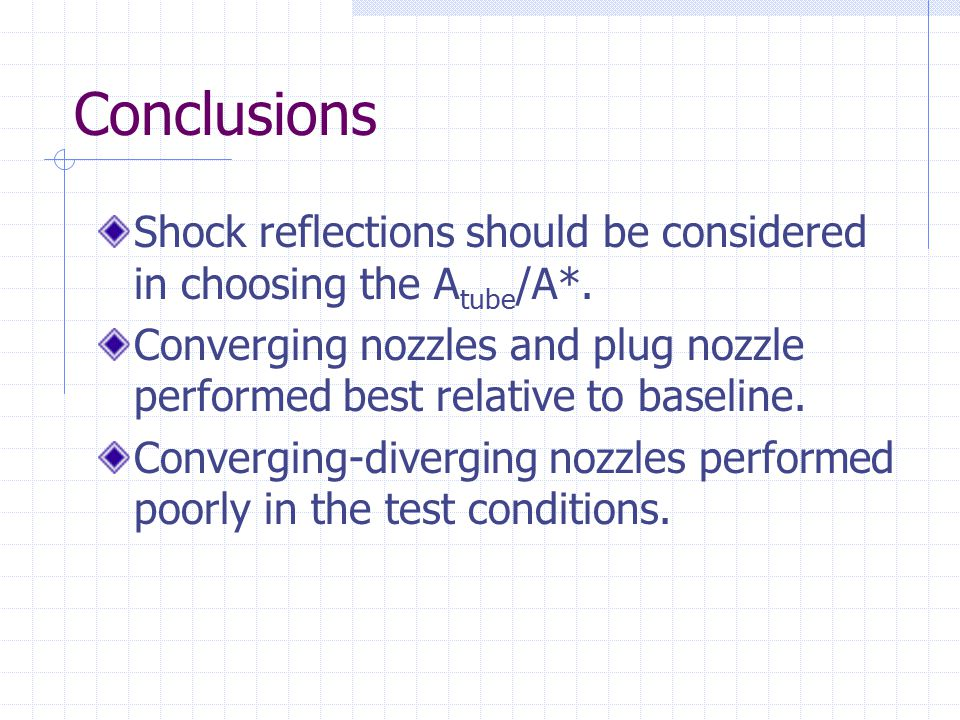 Conclusions Shock reflections should be considered in choosing the Atube/A*. Converging nozzles and plug nozzle performed best relative to baseline.