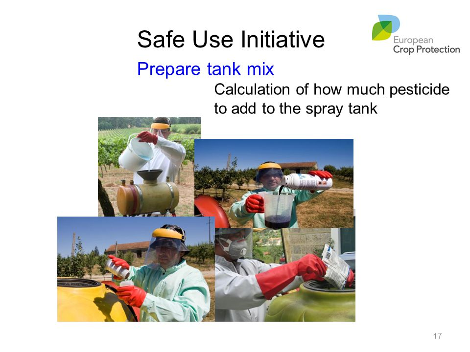 Prepare tank mix Calculation of how much pesticide to add to the spray tank