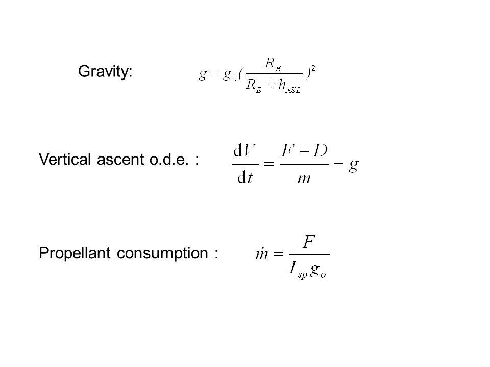 Gravity: Vertical ascent o.d.e. : Propellant consumption :