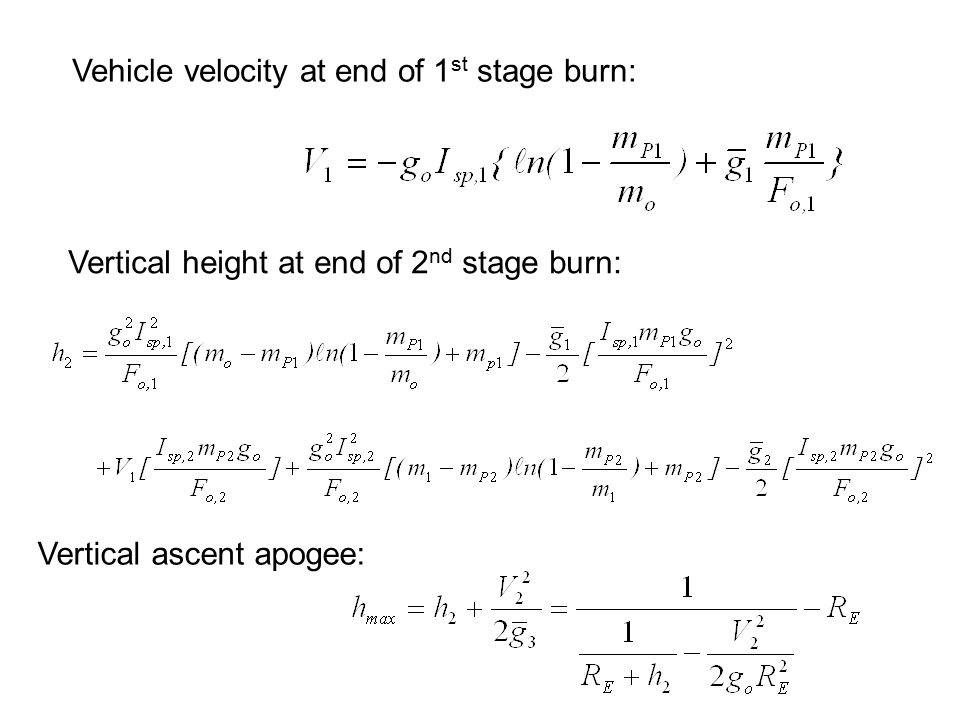 Vehicle velocity at end of 1st stage burn: