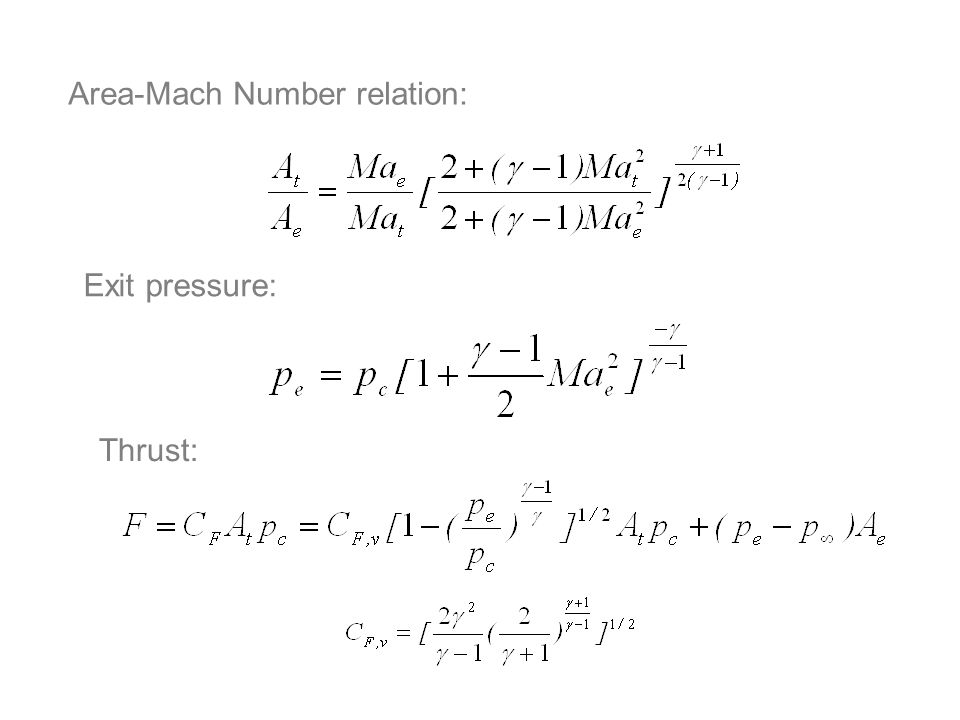 Area-Mach Number relation: