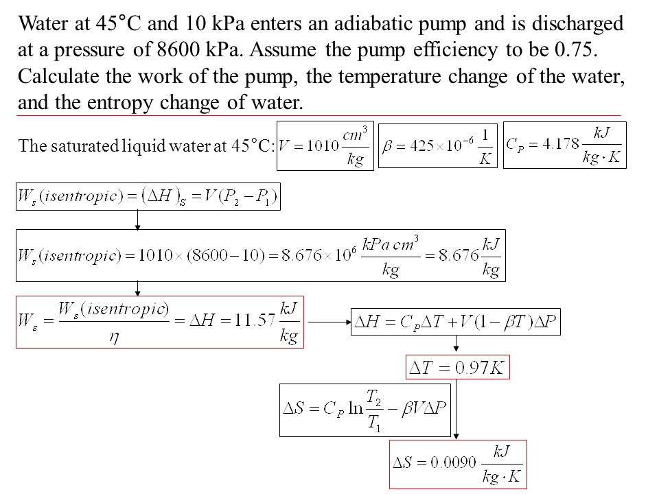 Water at 45°C and 10 kPa enters an adiabatic pump and is discharged at a pressure of 8600 kPa. Assume the pump efficiency to be 0.75. Calculate the work of the pump, the temperature change of the water, and the entropy change of water.