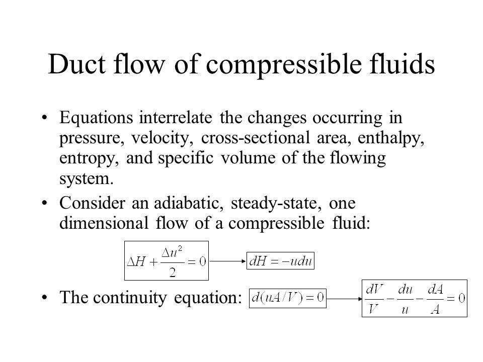 Duct flow of compressible fluids