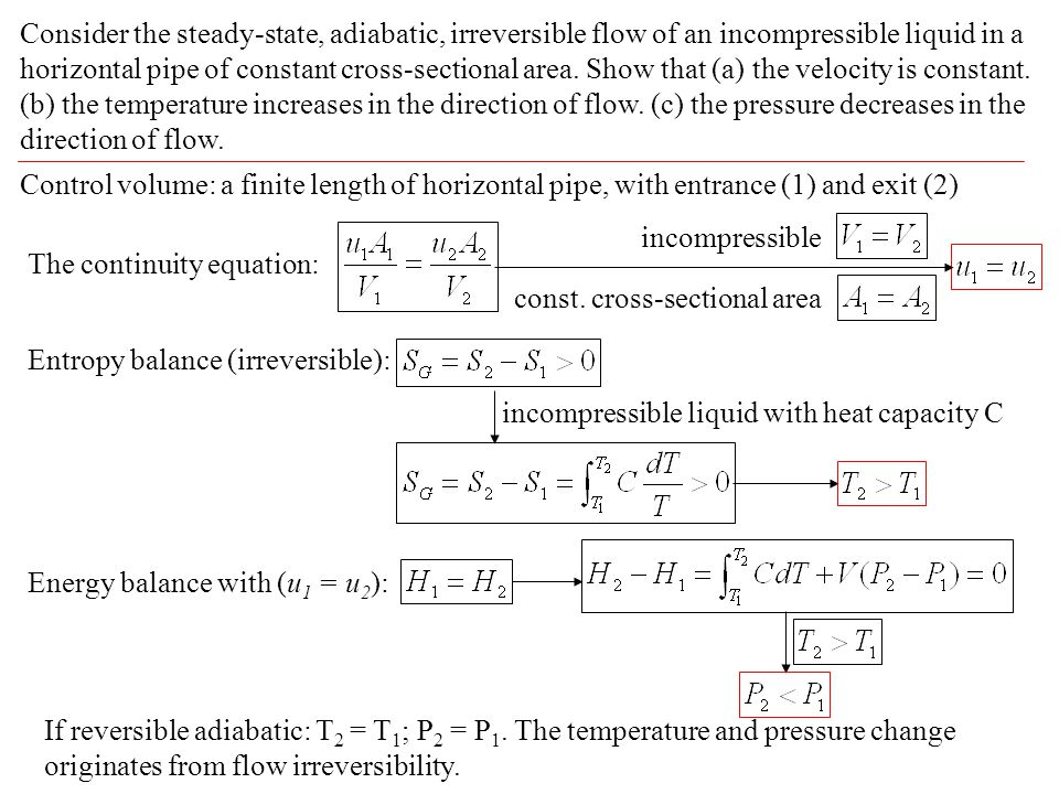 Consider the steady-state, adiabatic, irreversible flow of an incompressible liquid in a horizontal pipe of constant cross-sectional area. Show that (a) the velocity is constant. (b) the temperature increases in the direction of flow. (c) the pressure decreases in the direction of flow.