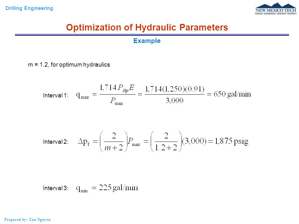 m = 1.2, for optimum hydraulics Interval 1: Interval 2: Interval 3:
