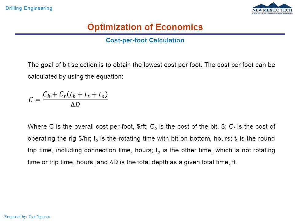 Optimization of Economics Cost-per-foot Calculation