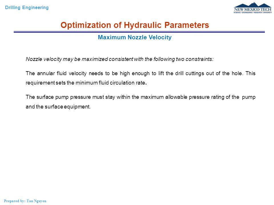 Optimization of Hydraulic Parameters Maximum Nozzle Velocity