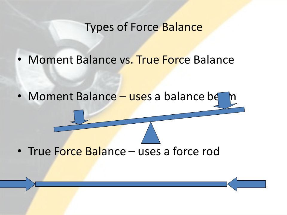 Types of Force Balance Moment Balance vs. True Force Balance. Moment Balance – uses a balance beam.