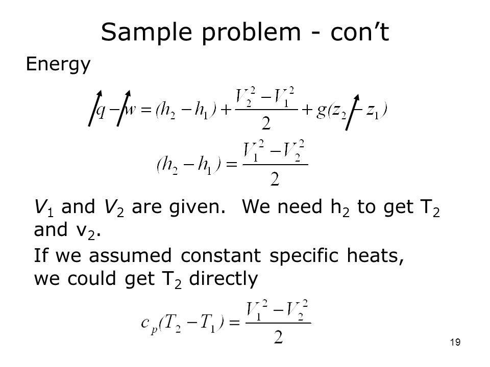 Sample problem - con't Energy