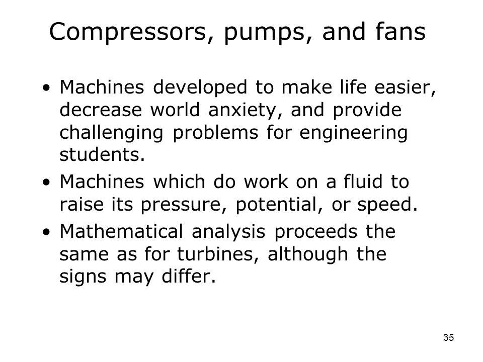 Compressors, pumps, and fans