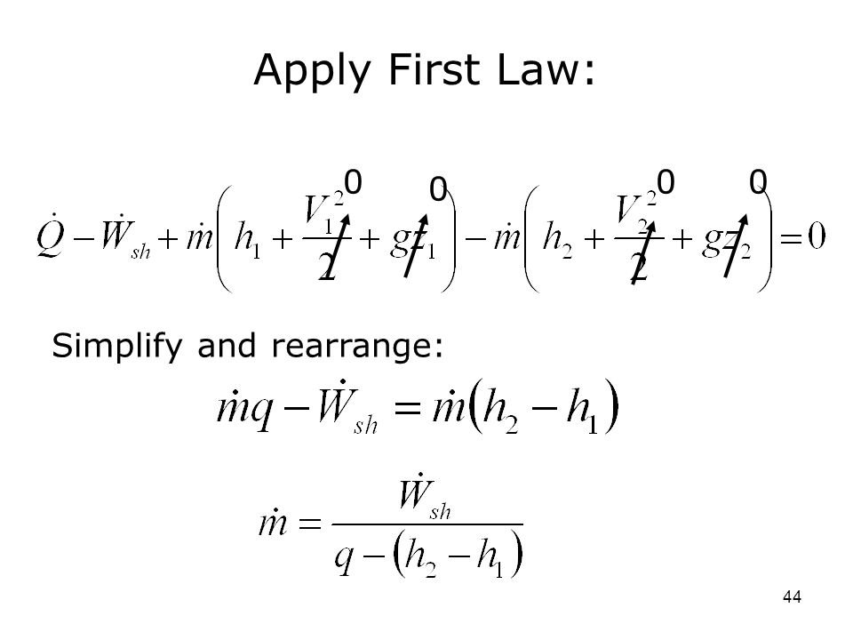 Apply First Law: Simplify and rearrange: