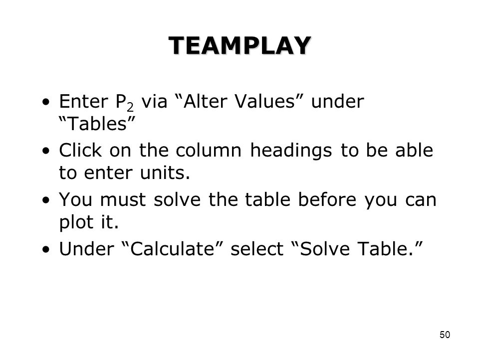 TEAMPLAY Enter P2 via Alter Values under Tables