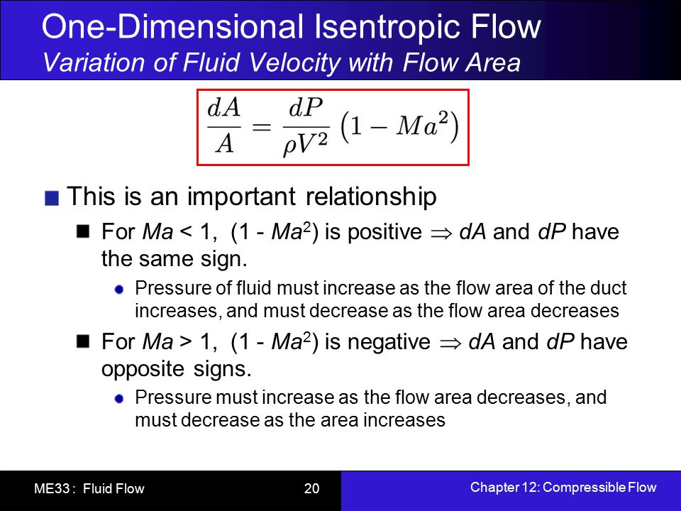 One-Dimensional Isentropic Flow Variation of Fluid Velocity with Flow Area