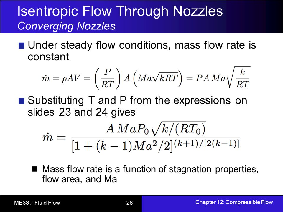 Isentropic Flow Through Nozzles Converging Nozzles