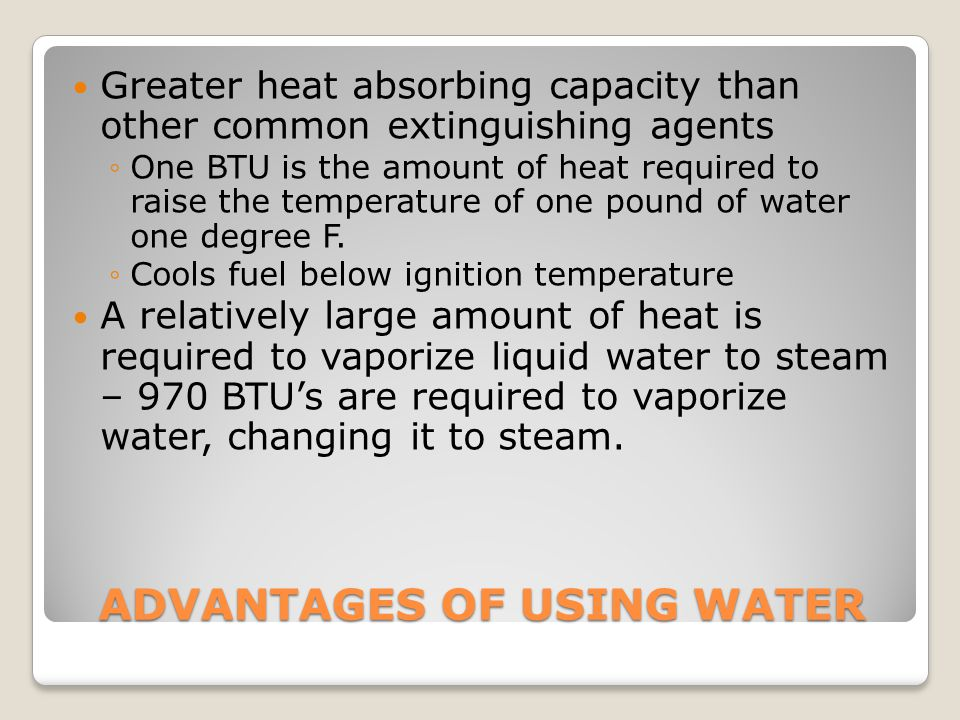 ADVANTAGES OF USING WATER