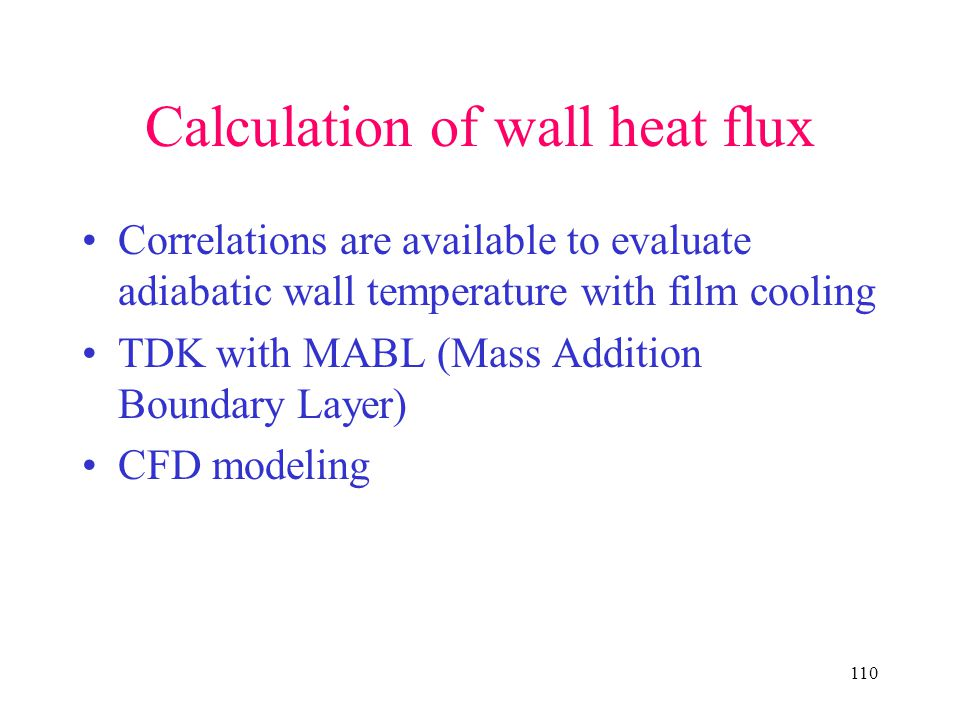 Calculation of wall heat flux