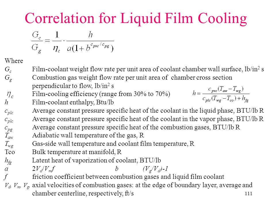 Correlation for Liquid Film Cooling