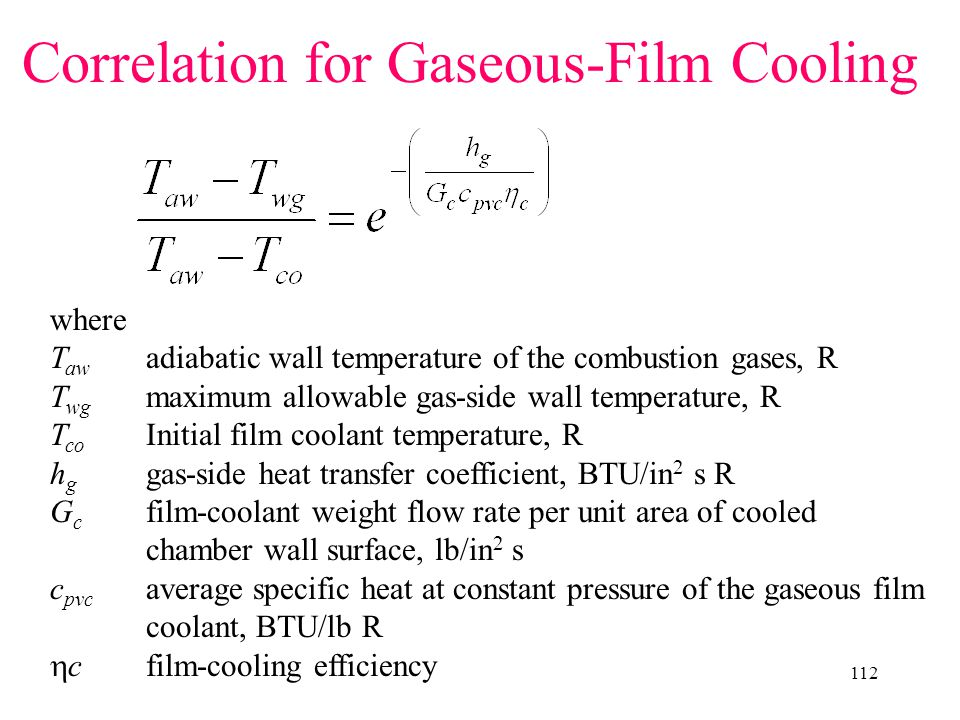 Correlation for Gaseous-Film Cooling